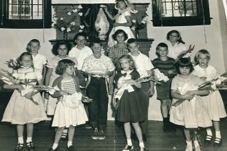Sharon Cascone (back, center, in plaid dress) at Morning Star School in the late 1950s.