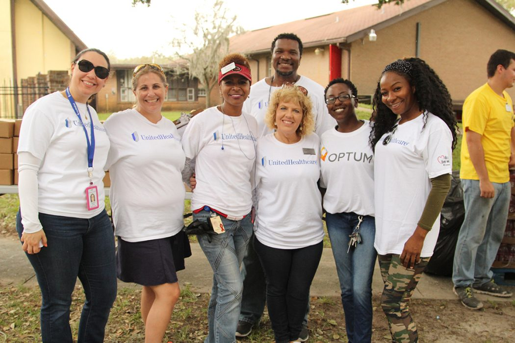 Volunteers from United Healthcare and Optum helped distribute hurricane relief supplies at St. Andrews Lutheran By-the-Sea Church in Jacksonville Beach after Hurricane Matthew.