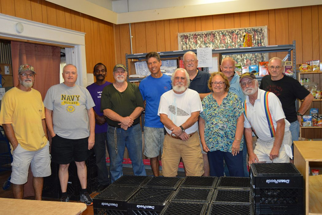 Trinity Lutheran Food Pantry Volunteers Gary Hautau, Tom Culverwell, Darren Sirmans, Steve Thomaszewski, Tim Bush, Frank Garelick, Bill Hiers, Mary Bollingberg, Rick Redman, Byron Bollingberg and Jim Cates