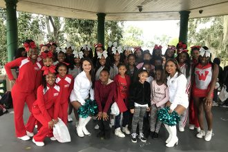 Cheerleaders from Westside High School, Pinedale Elementary, and the Jaguars ROAR