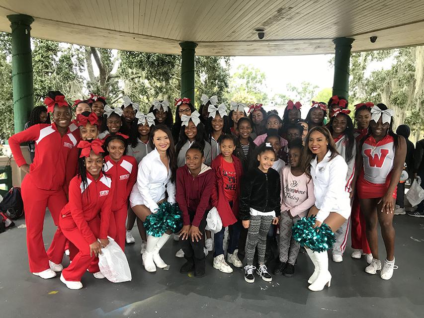 Cheerleaders from Westside High School, Pinedale Elementary, and the Jaguars ROAR