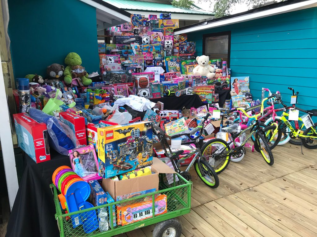 Toys donated during a Teal-Gate Toy Drive Dec. 16, 2018 to benefit Children's Home Society and children on Ken Knight Drive in northwest Jacksonville.