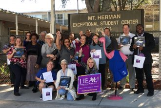 HEAL Founder Leslie Weed and Executive Director Jason Gurka deliver iPads to Mt. Herman Exceptional Student Center. To date, HEAL has gifted 400 iPads to local ESE classrooms.