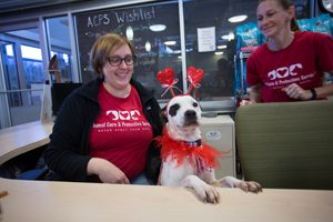 ACPS pets, staff and volunteers enjoy a Valentine's Day celebration complete with lunch, gifts and a $400,000 grant from Petco Foundation.