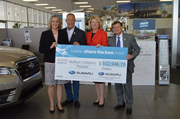 Cindy Dennis, coordinator of Safe Kids of Northeast Florida, Subaru of Jacksonville Owner Phil Porter, Cindy Reynolds, Senior Vice President and Chief Philanthropy Officer and Wolfson Children's Hospital President Michael Aubin