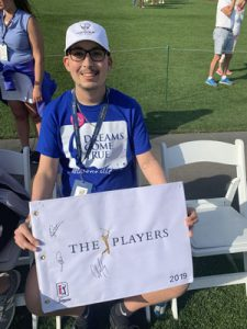 "Over the past 35 years, THE PLAYERS has continued to stay involved with Dreams Come True, helping to fulfill nearly 30 dreams for local children battling life-threatening illnesses, while creating special experiences for dreamers and their families. Dreamer Allen Roberson (age 17) was a special guest on May 13, 2019 at THE PLAYERS Championship, enjoying an ""inside the ropes"" experience on the 17th hole during the practice rounds."