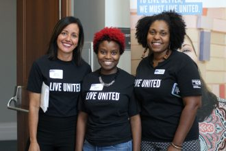 United Way of Northeast Florida staff celebrate volunteers from across Northeast Florida at the annual Volunteer United event on June 5 at the Main Library Downtown. From left: Jenny O' Donnell, Nyobi Brodgon and Ahyanna Shepard.