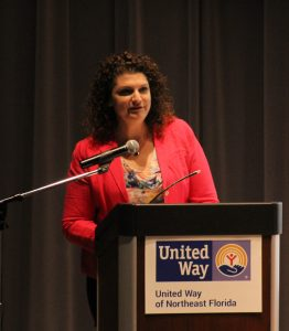 Sarah Ley, United Way of Northeast Florida board member and United Way's volunteer and community engagement council, speaks to attendees at the annual Volunteer United celebration held on June 5 at the Main Library Downtown.