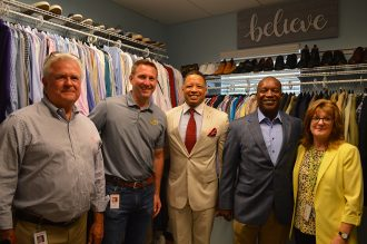 Scott Cairns, Chris Austin, Kevin Holzendorf, Nathaniel Ford and Cindy Funkhauser at opening of new Sulzbacher Men's Career Closet