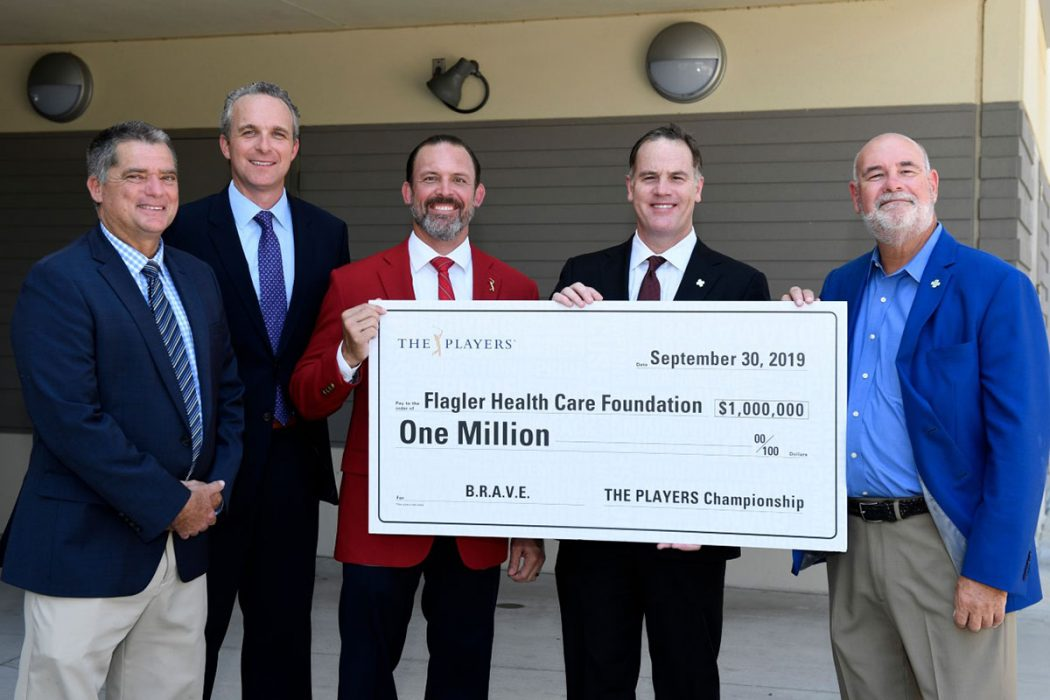 The Players presented The Flagler Foundation with a $1 million donation to help improve mental health in St. Johns County Schools. Pictured are, from left to right, Superintendent of Schools Tim Forson, PLAYERS Chapionship Executive Director Jared Rice, Tournament Chairman Adam Campbell, Flagler Health+CEO Jason Barrett and Brad Cooper, Chair, Flagler Healthcare Foundation Board of Trustees.